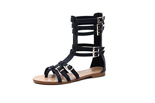 gracosy Sandales Cuir Femmes Filles Chaussures Été Spartiates Plates  Montantes Hautes à Talons Plat à Lanières c24ea59a636f
