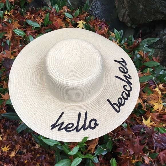 """BEACH HAT Great hat for social media pictures. One size fits all. """"HELLO  BEACHES"""" is a very rare written words on these types straw floppy hat. 4a2709dcf90"""