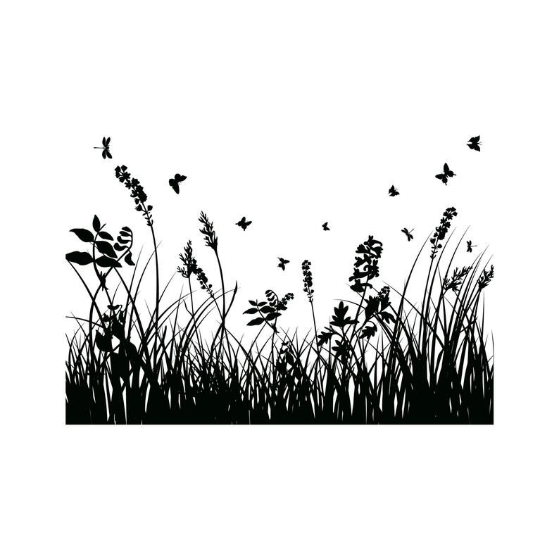 Grass 3 Garden Nature Herb Lawn Plant Black Meadow Horizontal Etsy Grass Silhouette Photoshop Backgrounds Grass Clipart