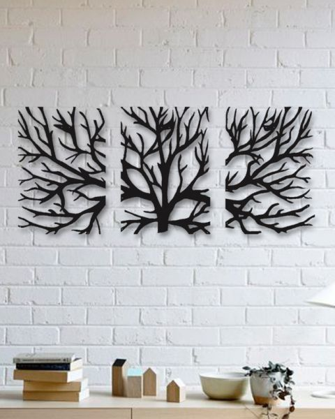 Tree 3 Pieces Metal Wall Art  DAGROF is part of Metal tree wall art - ağaç dekor, ağaç tablo, ağaç biblo, ağaç afiş, ağaç poster, geometrik ağaç,parçalı tablo, kanvas alternatif