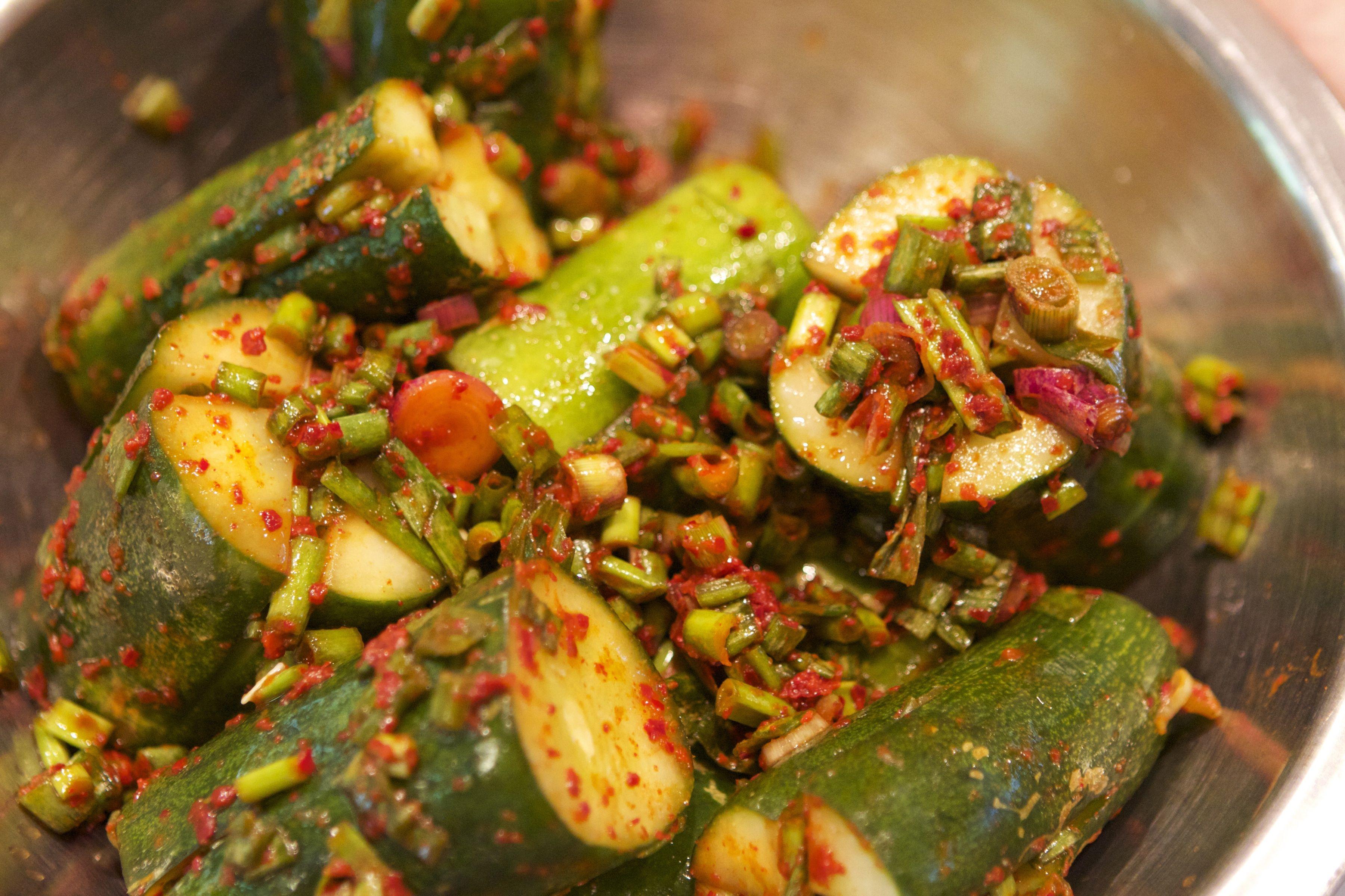 Stuffed Cucumber Kimchi   Bear Naked Food
