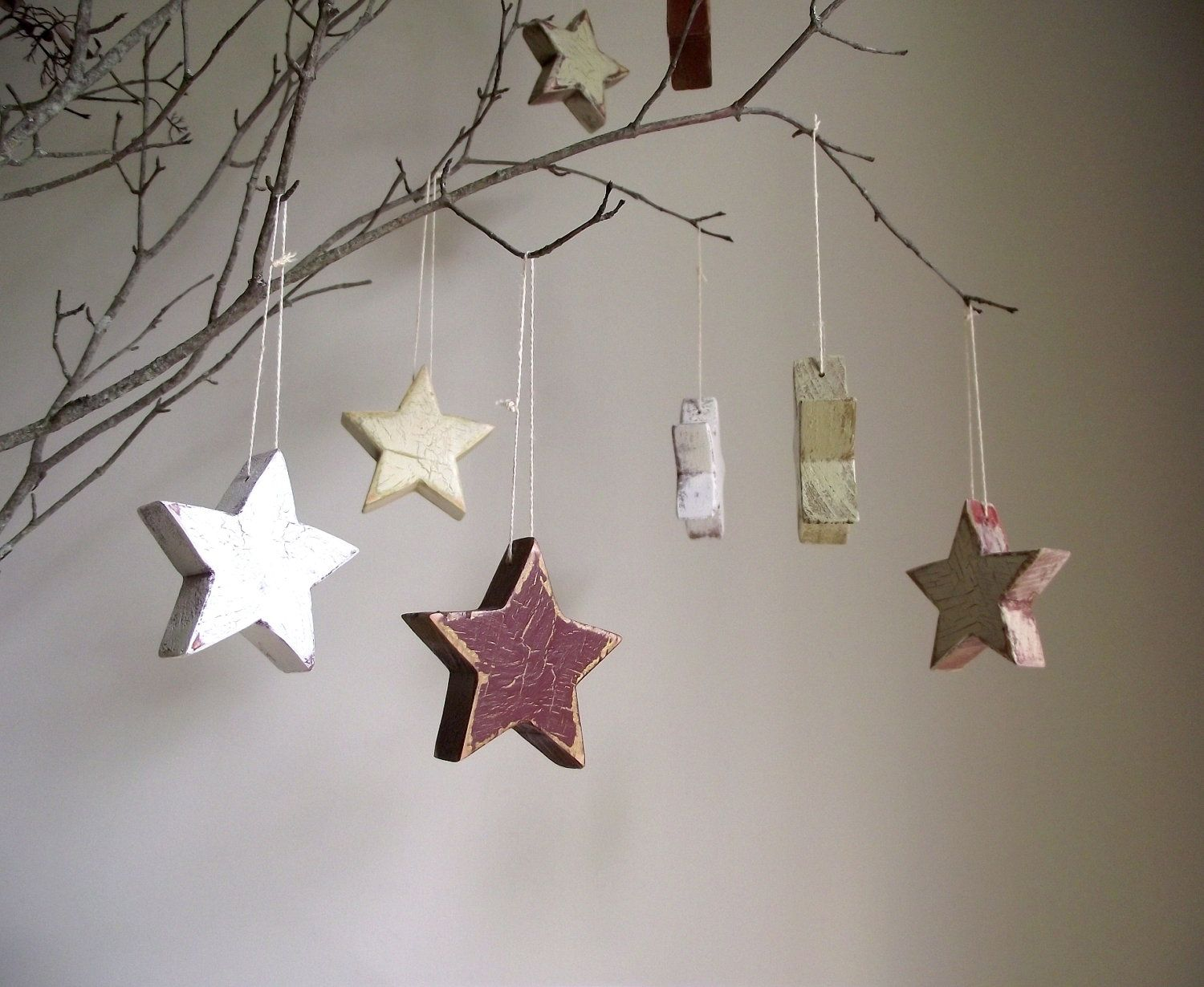 Antiqued Wood Stars Handpainted Decoration Salvaged Wood Farmhouse Country Cottage Decor Set of 4. $16.00, via Etsy.