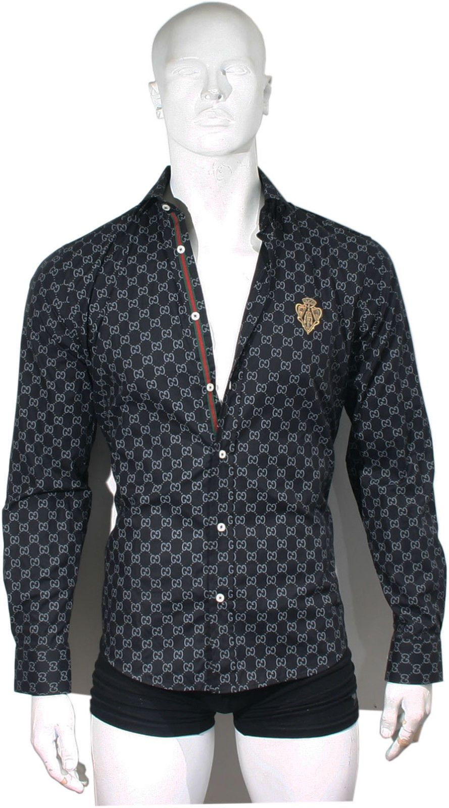 da9a5325 Black Color New GG Monogram Design Men Gucci Dress Shirt M L XL | eBay