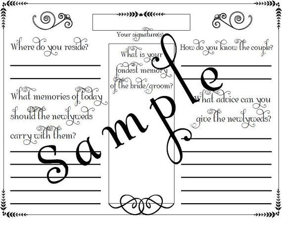 Wedding Guest Book Page PDF File Template 425 X by glamorousbridal - guest book template