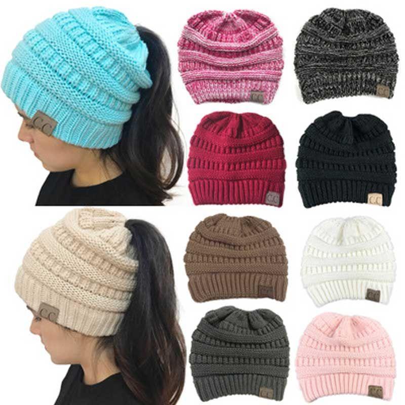 CC Pferdeschwanz Beanie Hüte Für Frauen Winter Warm Skullies Beanies ...