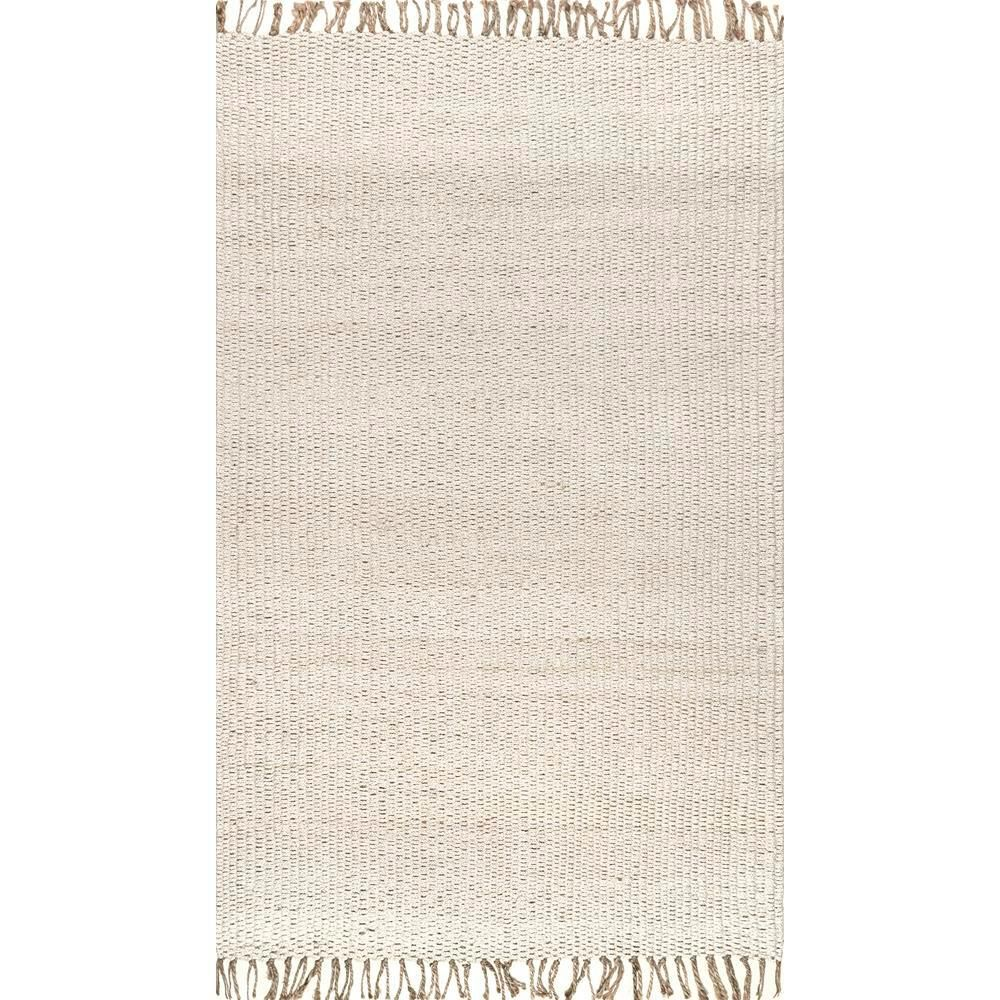 Nuloom Benavides Tassel Jute Off White 5 Ft X 8 Ft Area Rug Clal01a 508 The Home Depot Area Rugs Beige Area Rugs Area Rugs For Sale