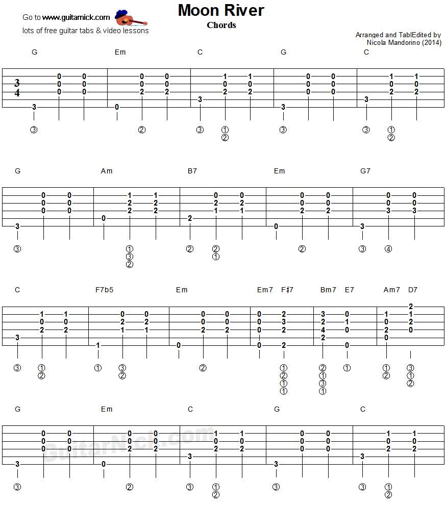 Moon River Guitar Chords Tablature 1 Learn Guitar Pinterest