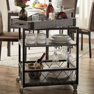 Myra Ii Rustic Mobile Serving Cart With Wine Inserts And Removable Enchanting Rustic Kitchen Cart Design Decoration