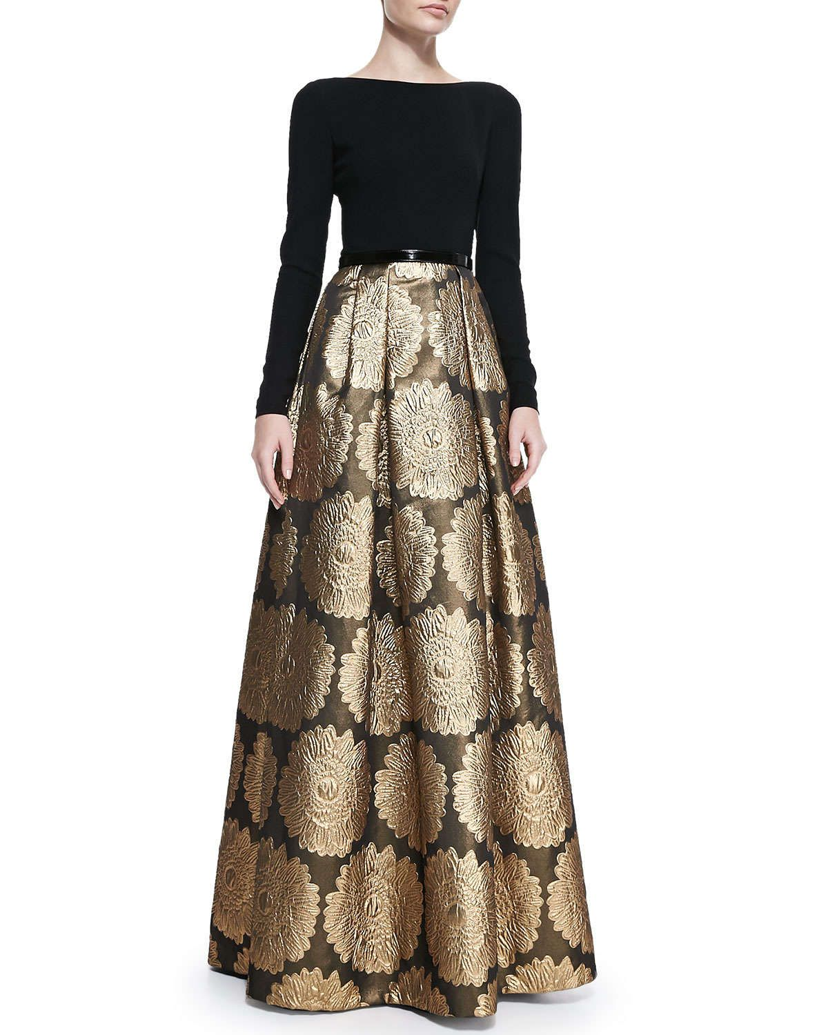 Theia Long Sleeve Jacquard Skirt Gown