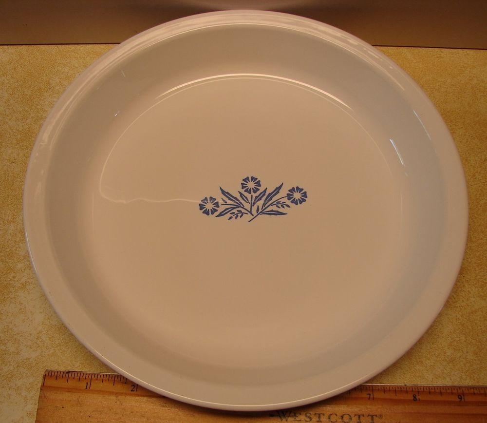 Corning Ware 9\  Pie Plate Cornflower P-309 White w/Blue Vintage Made in U.S.A & Corning Ware 9\