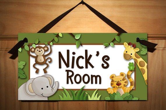 Owls Jungle Animals Wooden Bedroom Furniture Kids: Set Of 4 Jungle Safari Animals
