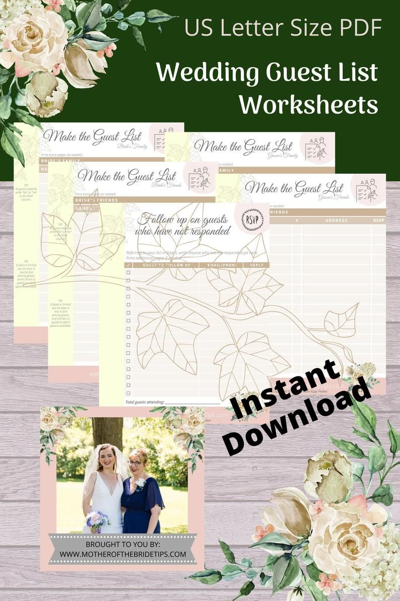 Wedding Guest List Bundle Etsy Wedding Guest List Wedding Planner Printables Wedding Planning Worksheet