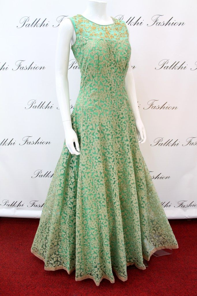 PalkhiFashion Exclusive Full Flair Light Green Hand Work Gown ...