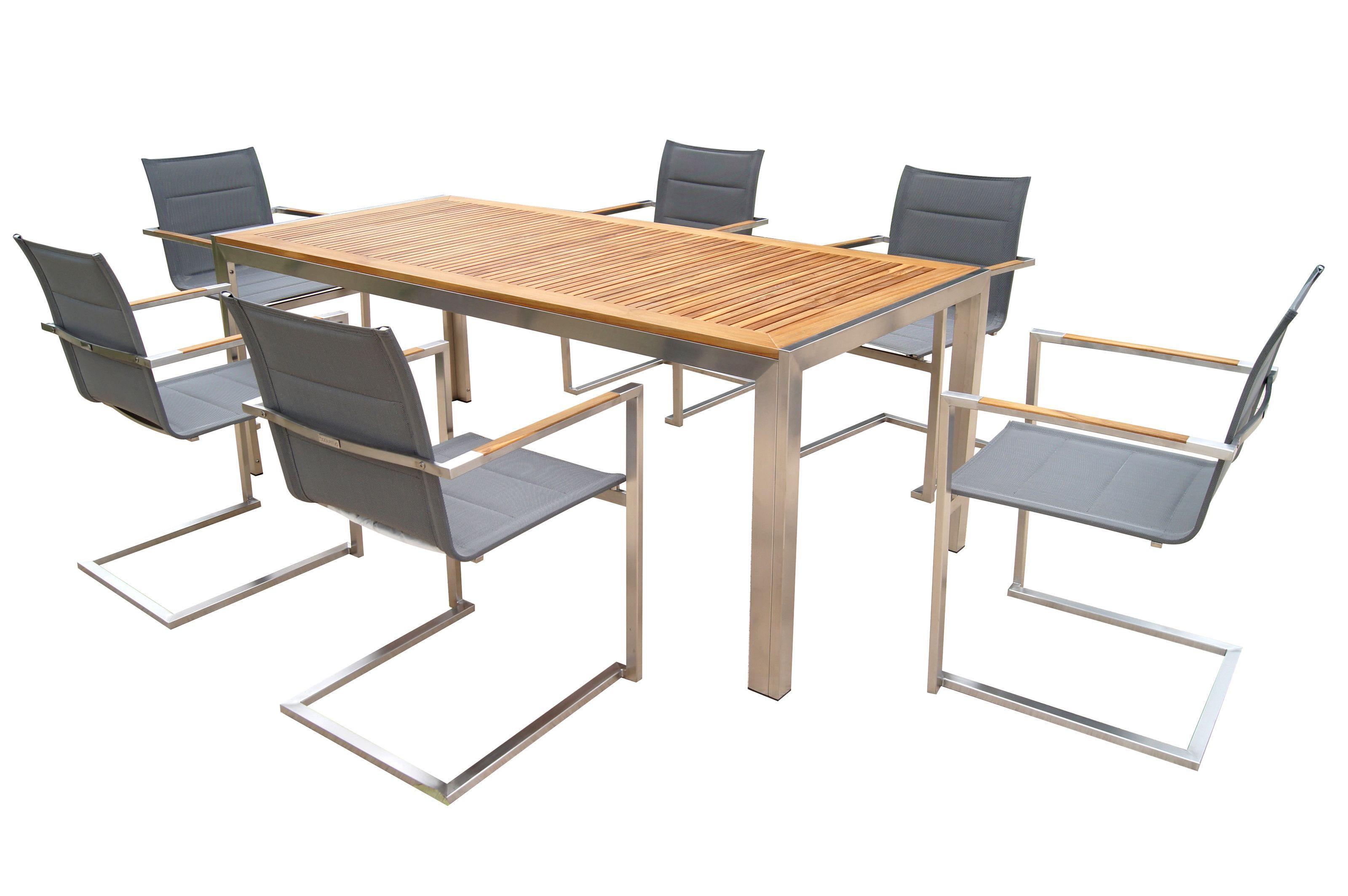 OUTFLEXX Sitzgruppe, silber, Edelstahl/Teak, Esstisch ...