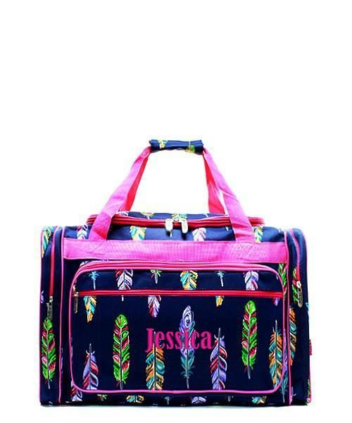 Personalized Feather Navy Pink 17 Kids Duffle Bag