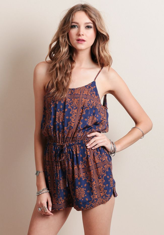 Monte Carlo Printed Romper at #threadsence @threadsence