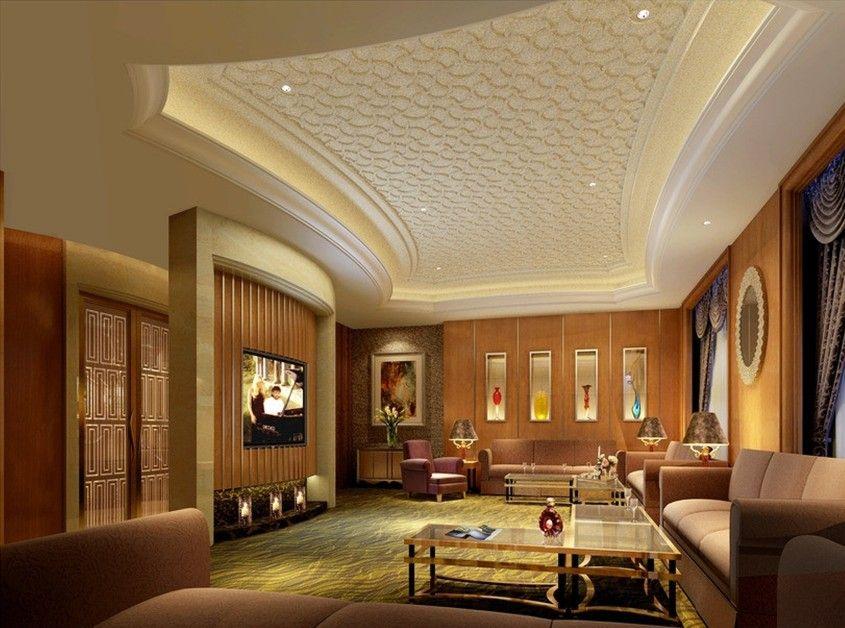 Luxury Pattern Gypsum Board Ceiling Design For Modern Living Room