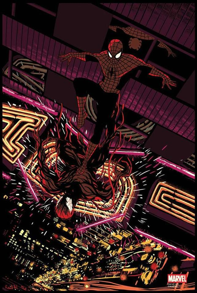 Spider-Man vs. Carnageby Chris Thornley akaRaid71 / Tumblr / Charity  242 X 36″ 8 color screen print, numbered edition of 150.Available from Grey Matter Art at a random time between 1-2pm EST Wednesday, March 9th, 2016, HERE.Follow GMA's twitter feed for the exact sale announcement HERE.