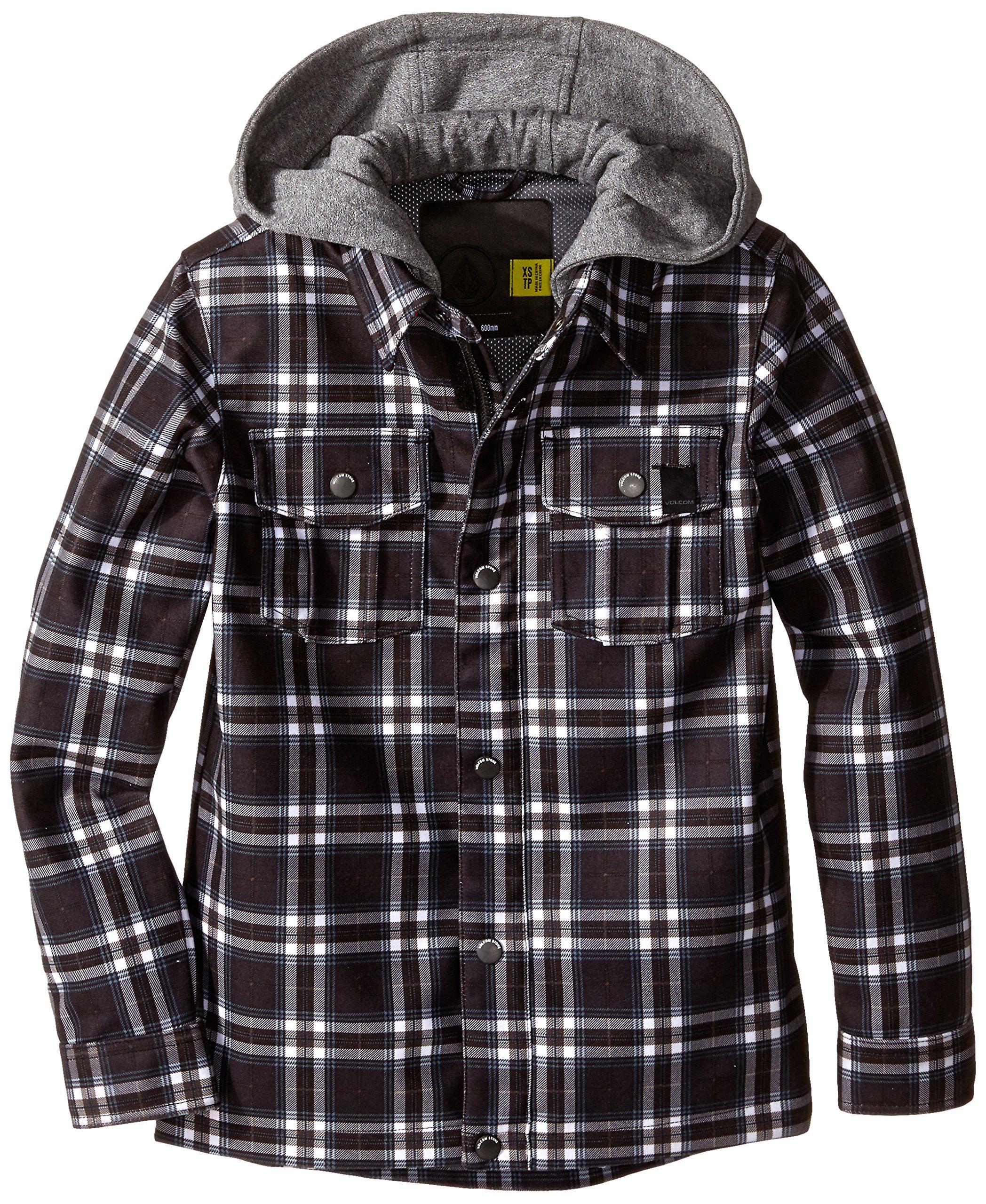 Flannel jackets with hood  Volcom Big Boysu Pagoda Flannel Jacket BlackWhite Large Zip