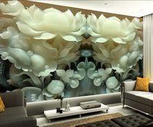 Benutzerdefinierte 3d Wandbild Tapete Chinesische Jade Lotus 3d