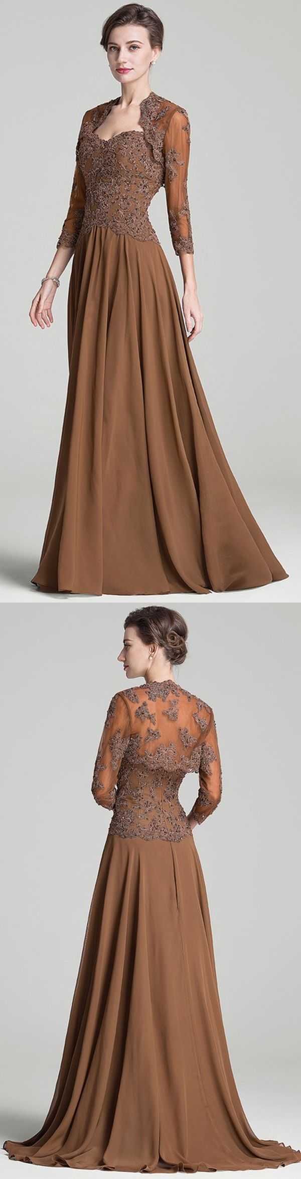 Brown Chiffon Sweetheart Mother Of The Bride Dress 167 99 Mother Of The Bride Dresses Pretty Dresses Dresses