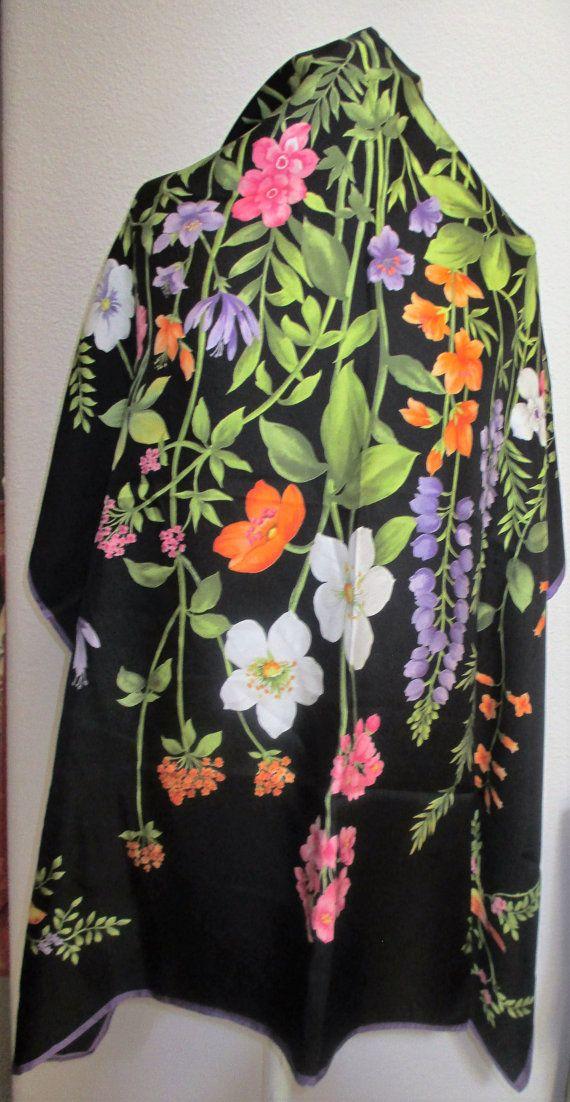 Gorgeous Vintage Silk Scarf 36 x 36 Floral by Orangebirdofparadise