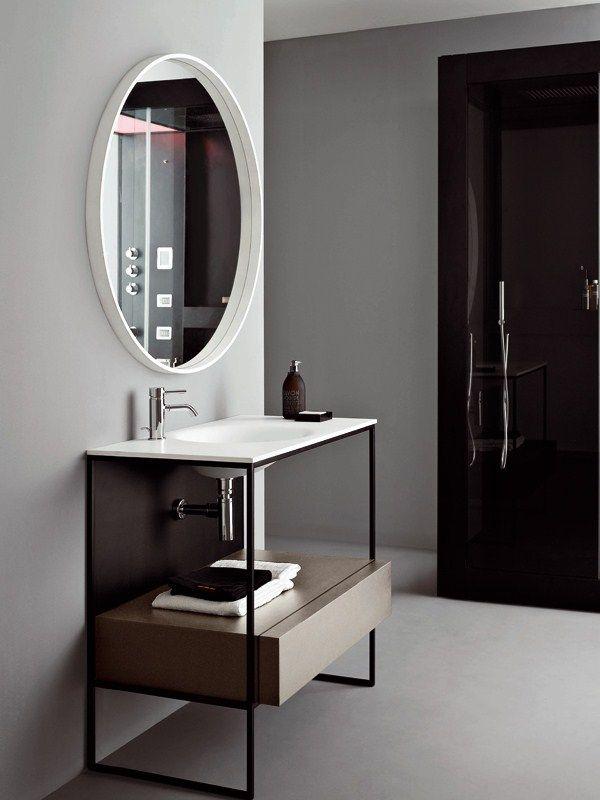Mobile lavabo in metallo con cassetti MORPHING STEEL 90