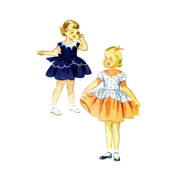1950s Girls Scalloped Dress Simplicity 3179 Vintage Sewing Pattern
