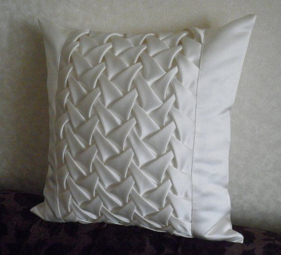 Decorative Satin Smock White Cushion Cover White Throw Pillow White Pillow Cover Smock Pillow Dec Throw Pillows White White Throw Pillows White Cushion Covers