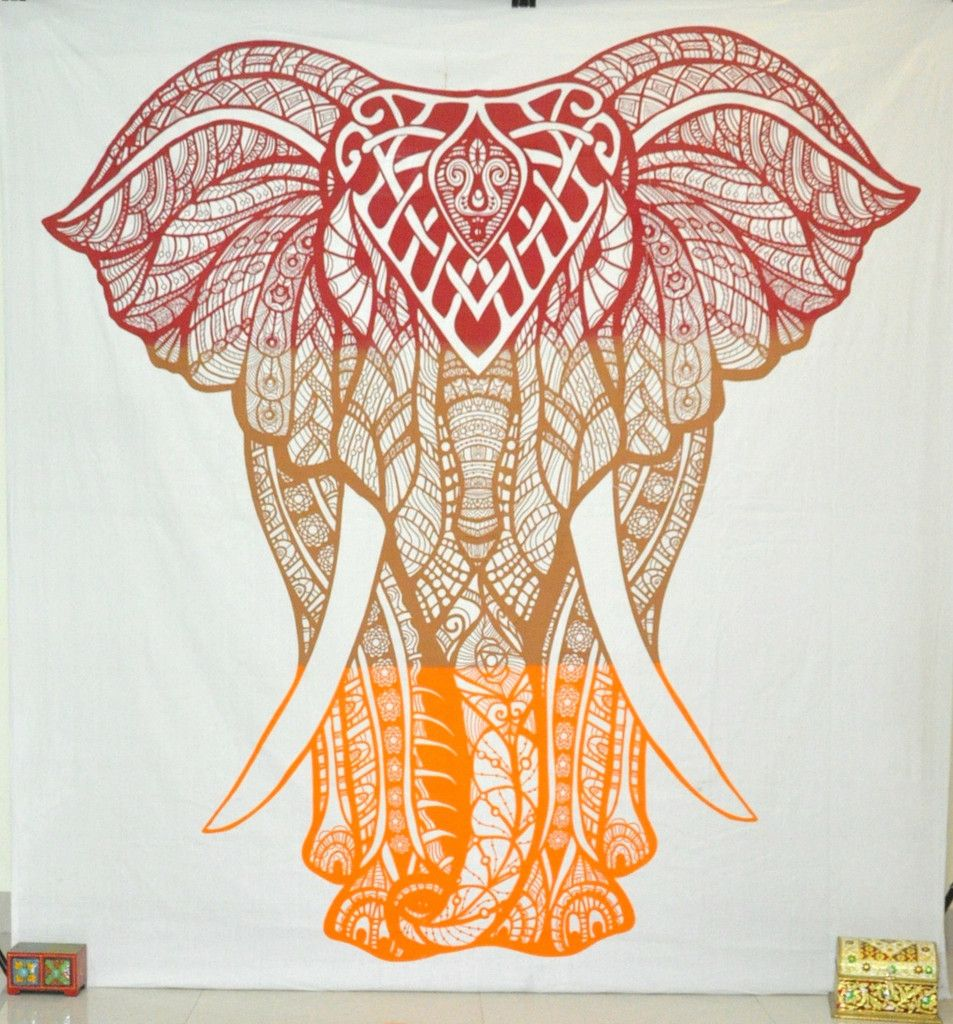 Colorful Elephant Tapestry For Dorm Room Bohemian Elephant