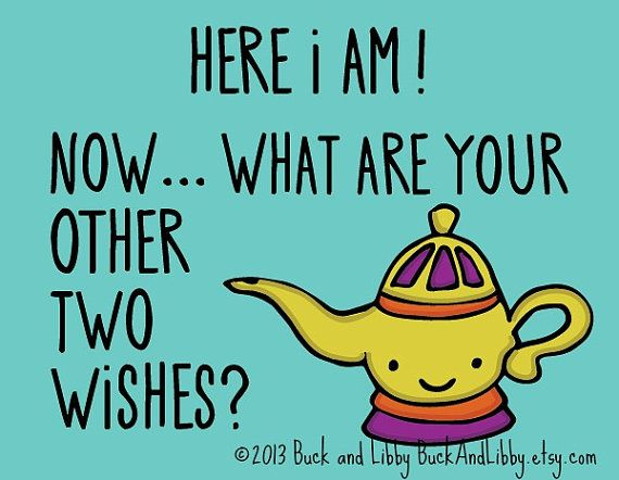 Three Wishes Pick Up Line Card With Envelope Blank Inside Funny
