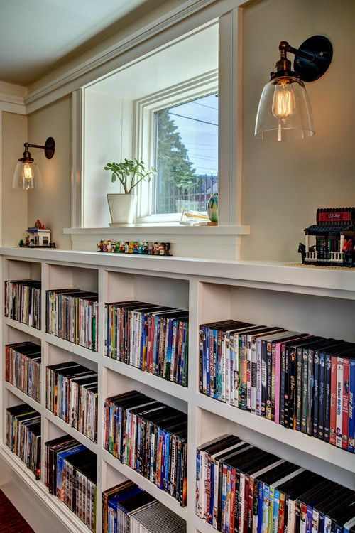 Creative Storage Ideas For Multi Purposes  DVD Storage Idea By Using Storage Along Walls Under Windows In Basement & Creative Storage Ideas For Multi Purposes : DVD Storage Idea By ...