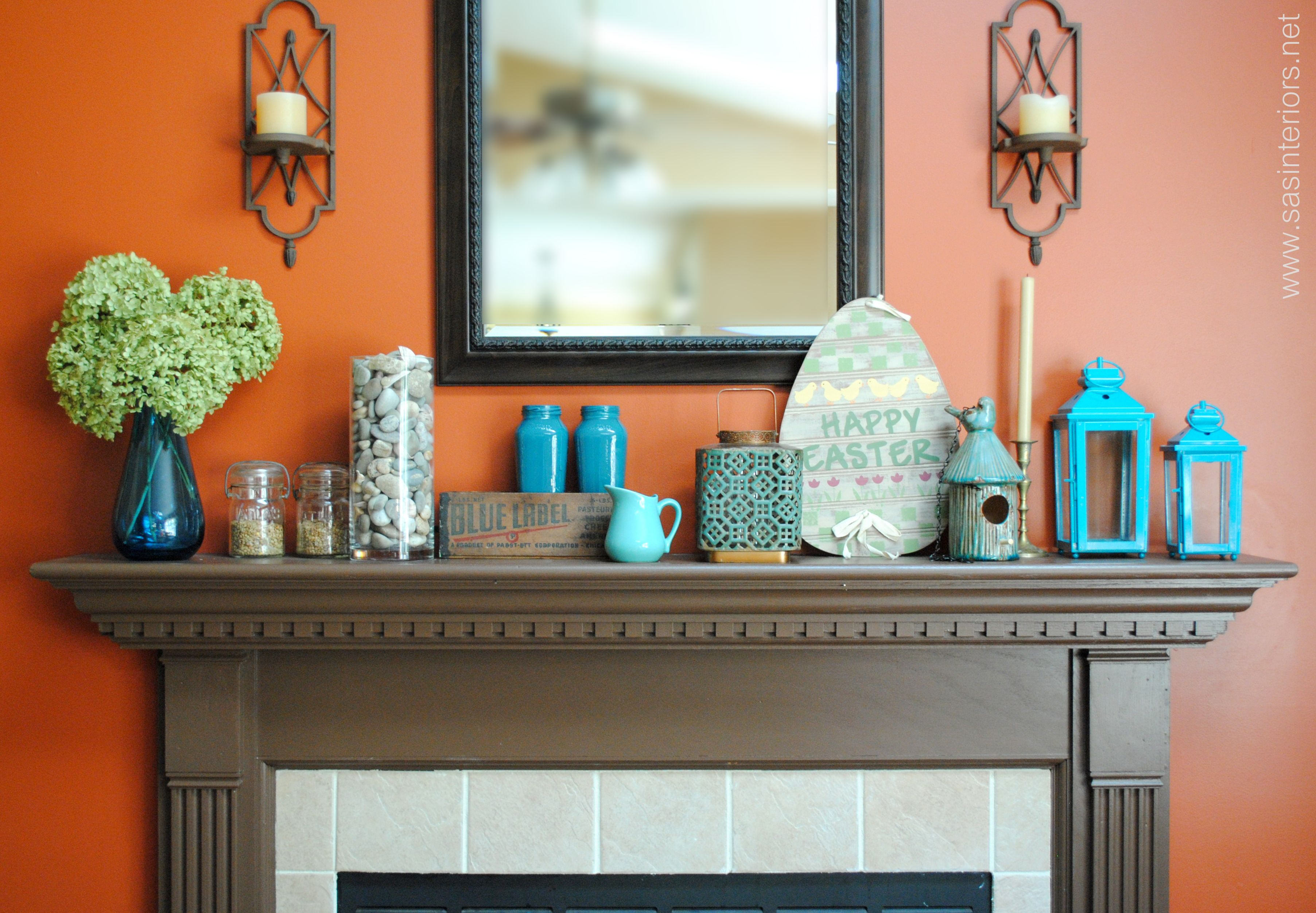 Spring Mantel with Shades of Turquoise by jenna burger on