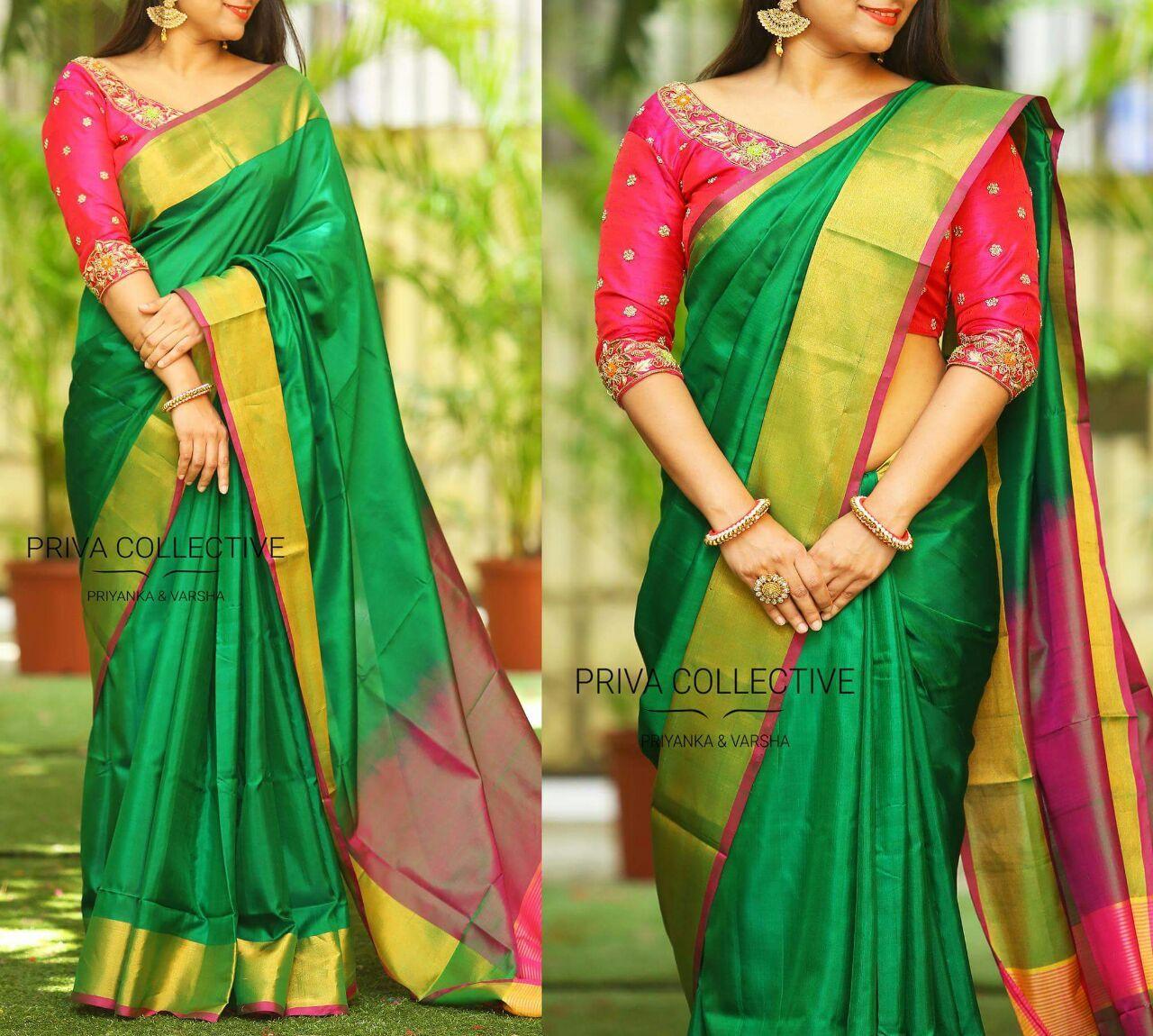 ae5e2a389b92c4 Dark green with dark Magenta Uppada plain sarees