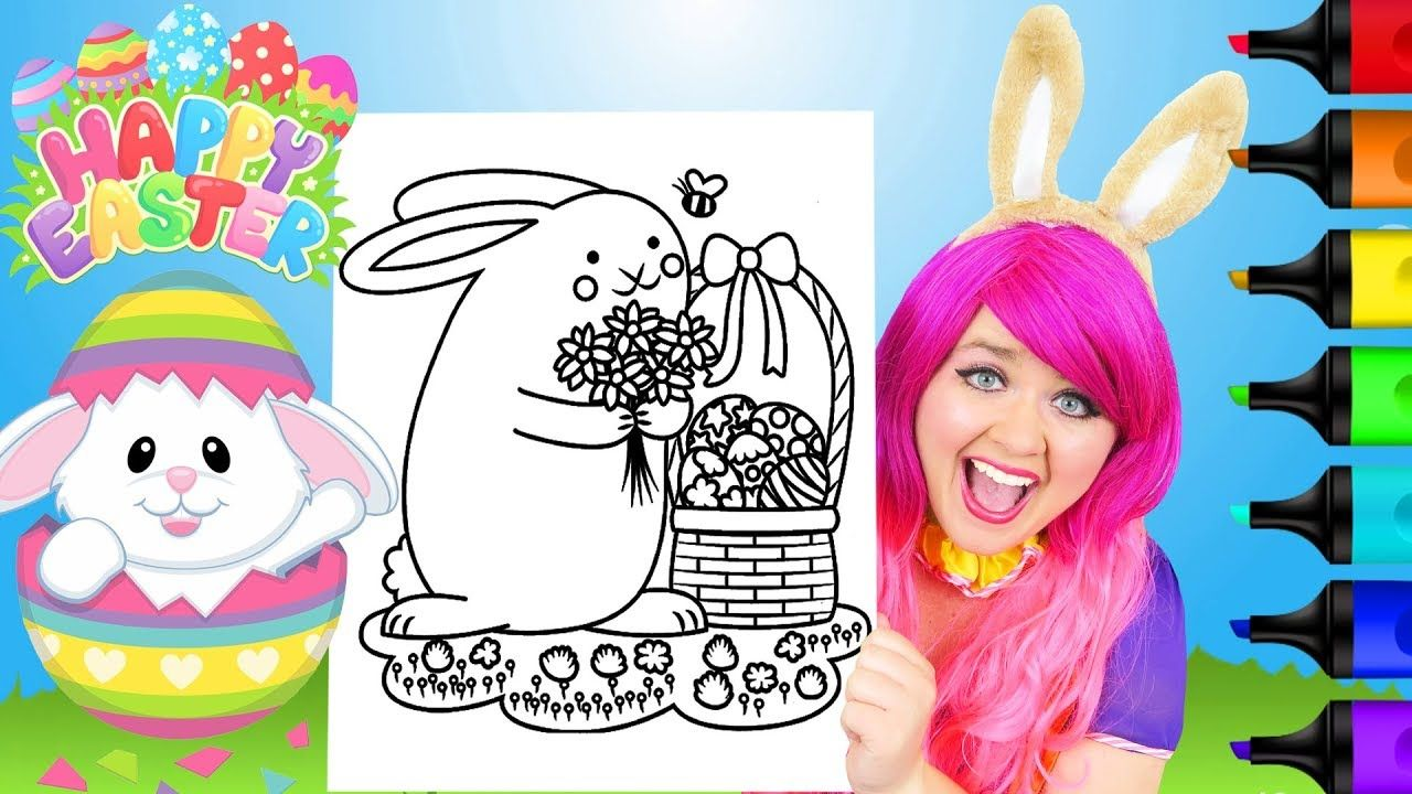 Coloring Easter Bunny Basket & Eggs Coloring Page Prismacolor ...