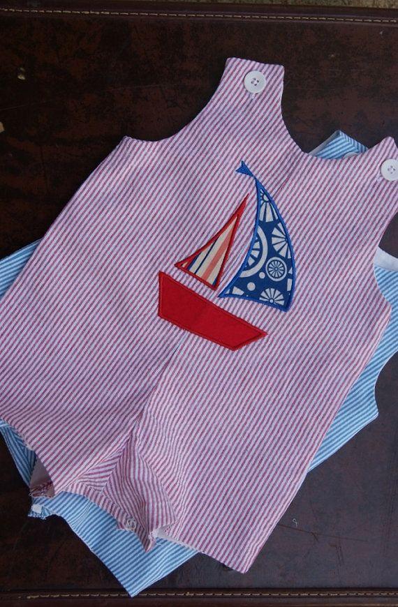 Baby Boys Spring Summer Nautical Appliqued Seersucker JonJon Shortall