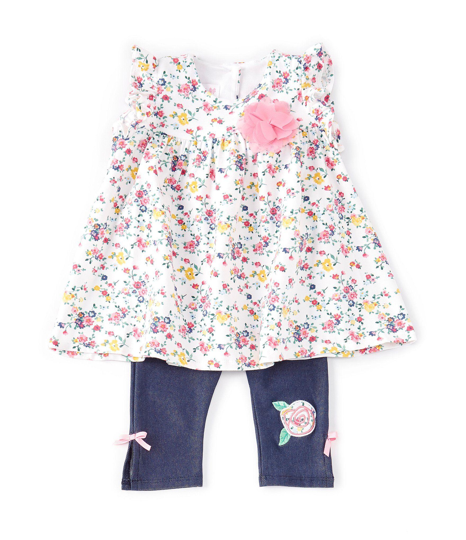 Photo of Bonnie Jean Baby Girls Newborn-9 Months Flutter-Sleeve Floral Dress & Jegging Set | Dillard's
