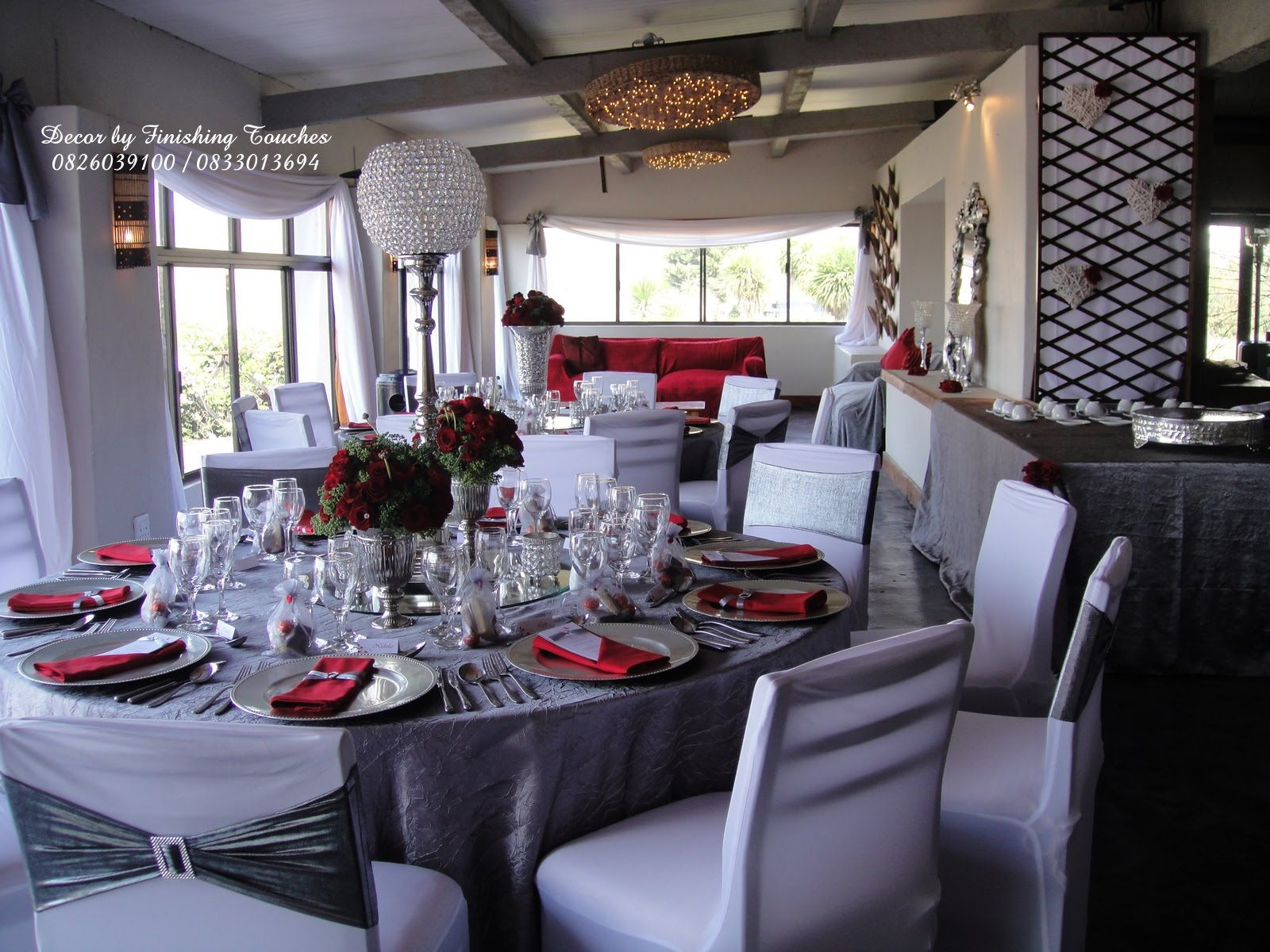 Brilliant red black and silver wedding decorations - spectacular ...