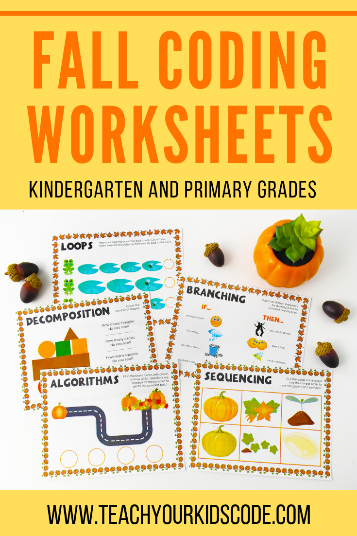 Here Is Our Fall Coding Worksheets These Coding Printables Are Aimed For Children In Kindergarten To Grade 3 S Coding For Kids Kindergarten Worksheets Coding [ 1102 x 735 Pixel ]