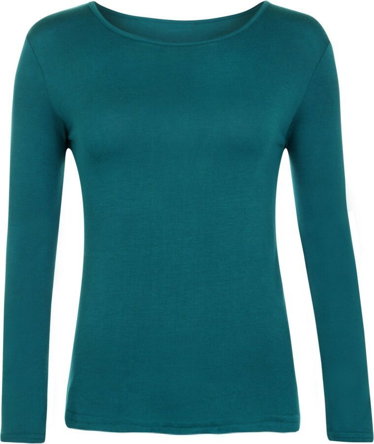 Ladies Womens Long Sleeve Scoop Neck Plain Stretch Bodysuit Leotard Top UK 8-14
