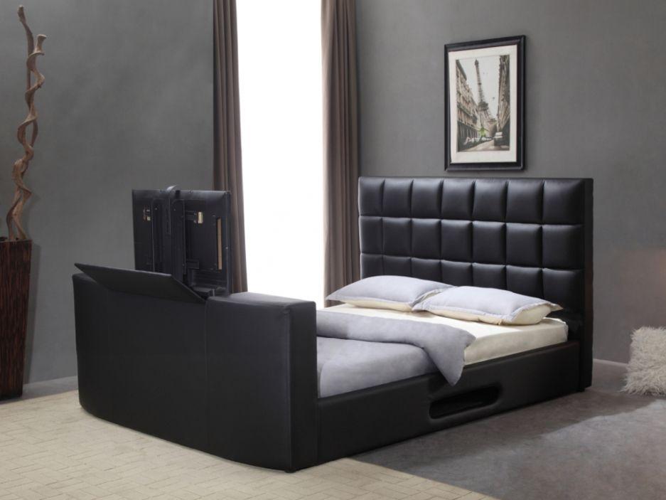 Lit Profusion Avec Systeme Tv Integre 160x200cm Simili Noir Lit Design Canape Lit Angle Meuble Chambre A Coucher