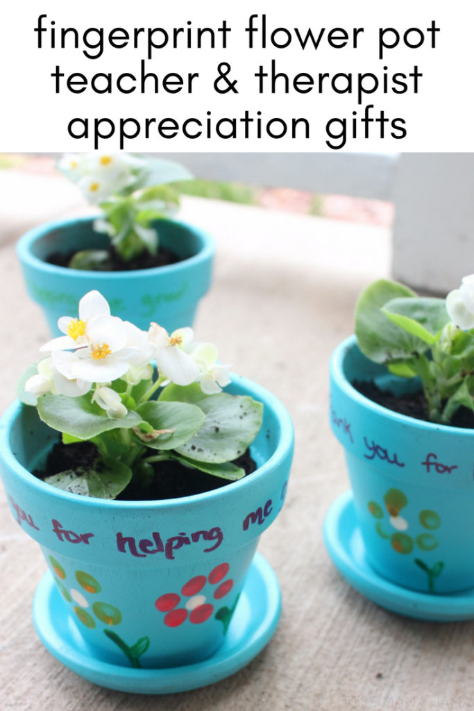 Fingerprint Flower Pot Teacher And Therapist Appreciation Gift Babysitter Gifts Flower Pots Therapist Gifts