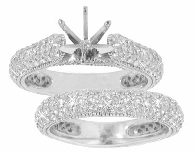 2.40 Ct. TW Pave Set Round Diamond Cathedral Engagement Mount with Matching Wedding Band