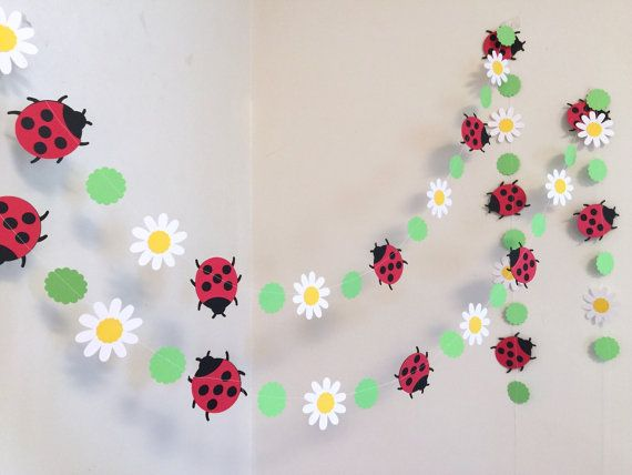 Photo of Lady Bug Garland / 6ft Gänseblümchen und Marienkäfer Geburtstag Dekor / 1. Geburtstag Banner / Little Lady Baby Dusche Dekorationen / Sie wählen die Farbe