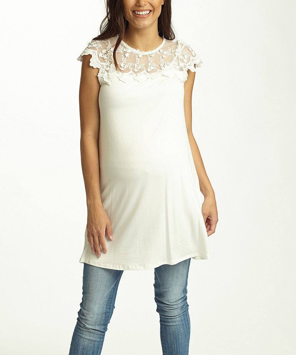 Another great find on #zulily! PinkBlush White Lace-Yoke Maternity Tunic by PinkBlush Maternity #zulilyfinds