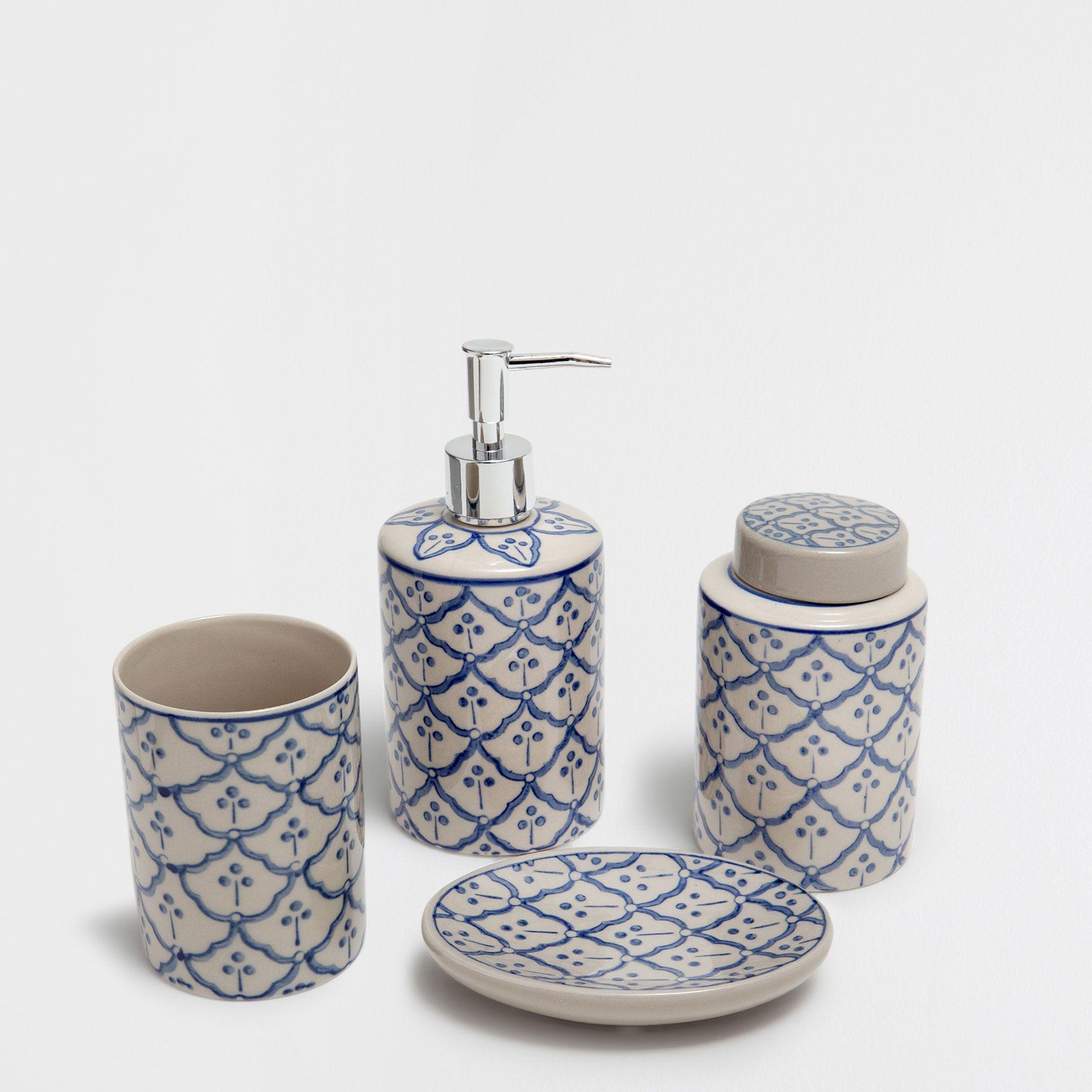 GRAY PATTERNED CERAMIC BATHROOM SET | My Home | Pinterest | Grey ...