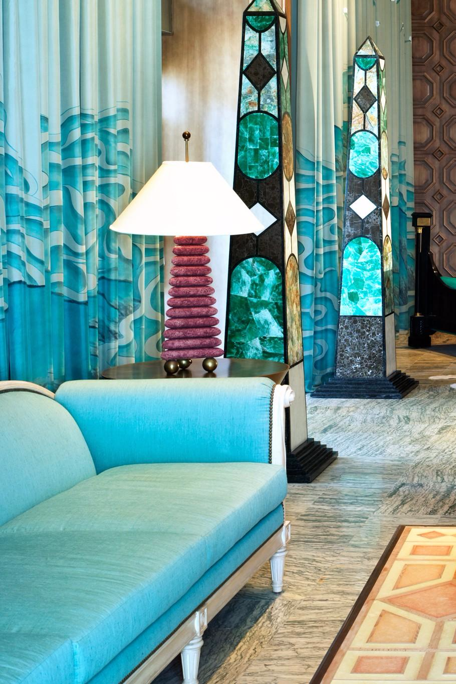 Kelly Wearstler's influence is seen in the copper-brushed mirrors and floating chandeliers in the lobby. Viceroy Miami (Miami, Florida) - Jetsetter