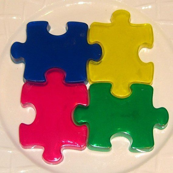 These are soap puzzle pieces to sell. Another cool idea. And i think you could make jello puzzle pieces for your kids to eat.