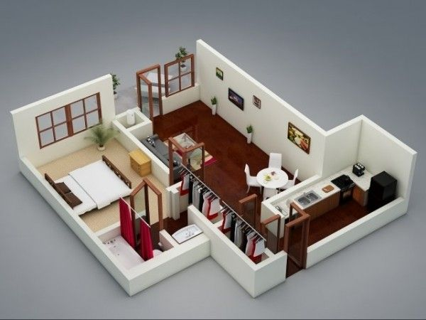 1 Bedroom Apartment House Plans One Bedroom House One Storey House One Bedroom Apartment