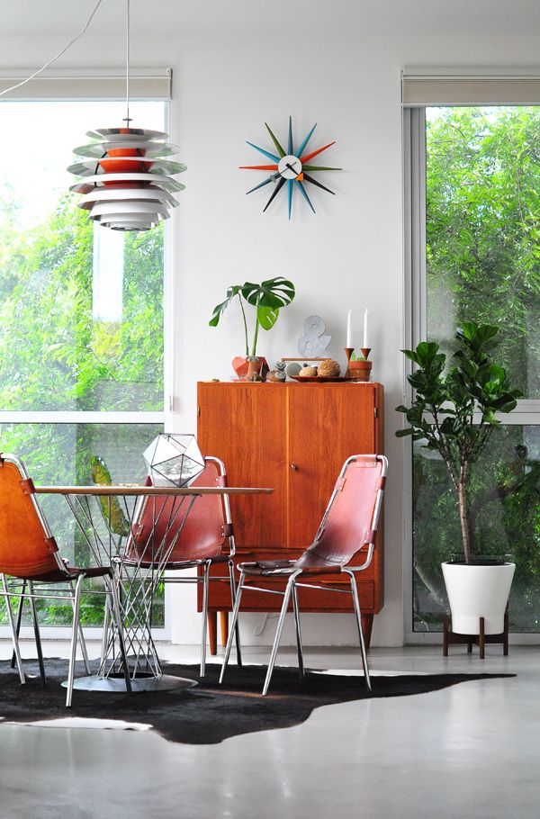 Retro Inspired Dining Area With Charlotte Perriand Chairs...and A Few Other